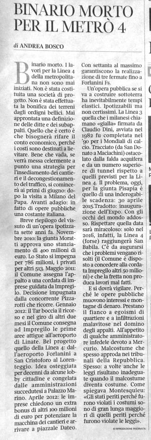 Metro 4: Articolo dal Corriere della Sera del 18 aprile